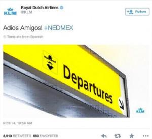 Twitt poco afortunado de la compañia KLM